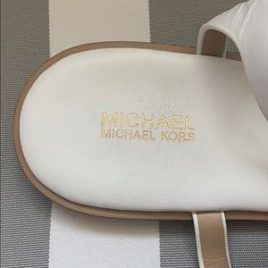 Michael Kors Shoes - Michael Kors white and gold sandals